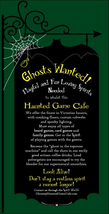 New business branding and Promotion and Help Wanted for the Haunted Game Cafe in Fort Collins Colorado