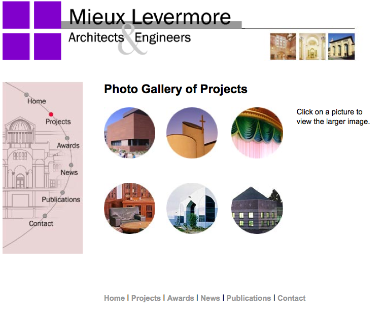 Architecture Firms' Website redesign project, images were modified for faster loading. The navigation image at left changed by the page, while maintaining a consistent look and feel.
