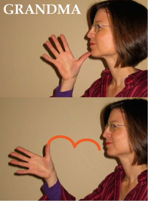 "How to sign ""Grandma"" in ASL sign language. Teach your baby and pre-verbal toddler to use sign language, with this downloadable Kindle e-book."