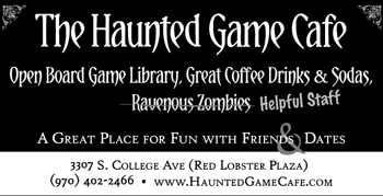 Black background newspaper ad with white text, says The Haunted Game Cafe. Victorian photo corners in the top corners.