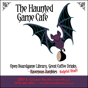 Dark puple bat holds a coffee cup in his feet while flying with wings outstretched. Decorative photo corners from Victorian era. Purple bar at bottom contains address. Tag line: open boardgame library, great coffee drinks, ravenous zombies. The last is crossed out and replaced by Helpful Staff.